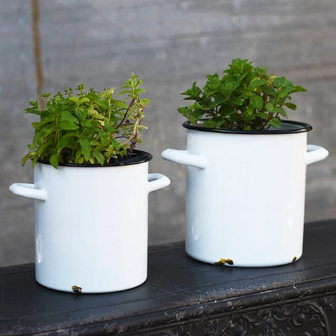 Set of 2 White Distressed Enamelware Pots