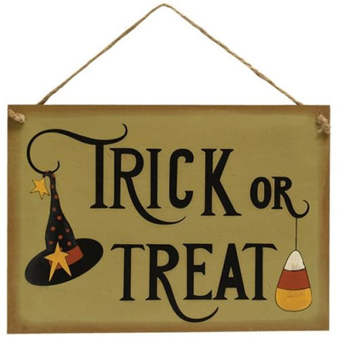 Trick or Treat Witch Hat and Candy Corn Twine Hanging Sign