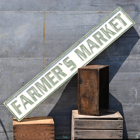 Distressed Extra Large FARMER'S MARKET green & white sign
