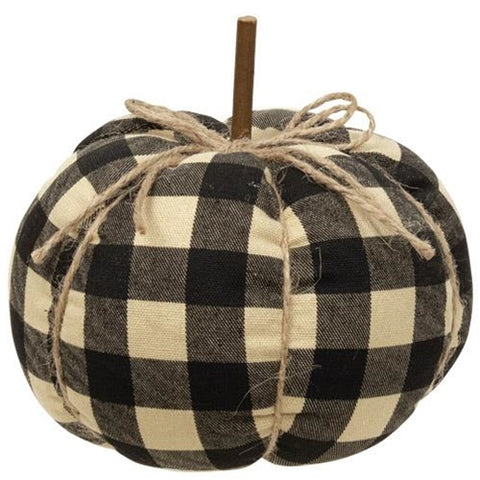 Small Black Buffalo Plaid Check Pumpkin