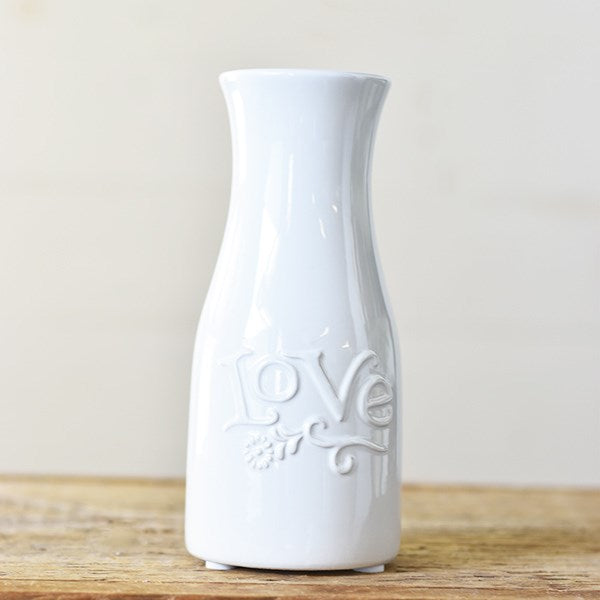 "Love Design 8"" Milk Bottle Vase"