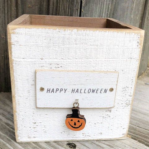 Happy Halloween Jack O'Lantern Charm Wooden Box