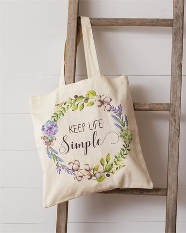 Keep Life Simple Floral Tote Bag
