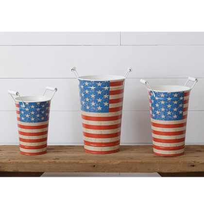 Set of 3 Tall Americana Buckets with Handles