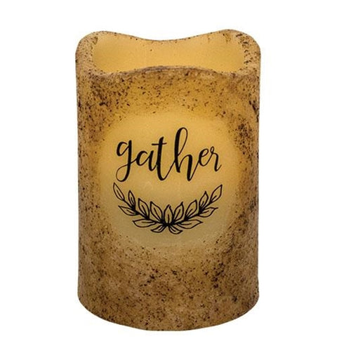 Gather Battery Operated Pillar - Burnt Ivory