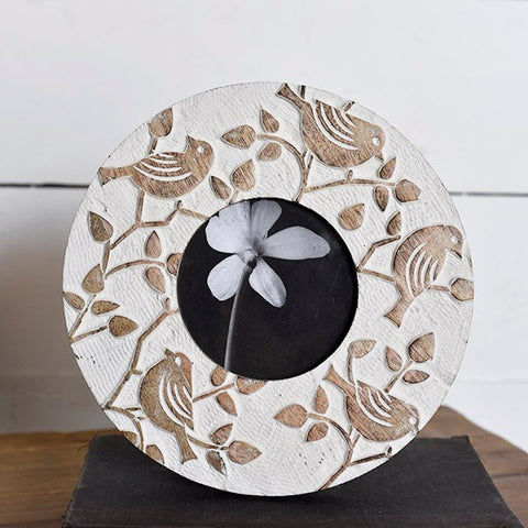 Round Natural Birds Picture Frame