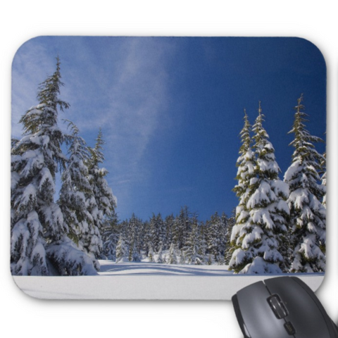 Winter Photo Mousepad - Snowy Winter Trees - Mouse Pad
