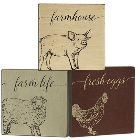 Set of 3 Small Farmhouse Block Signs - pig, sheep & chicken