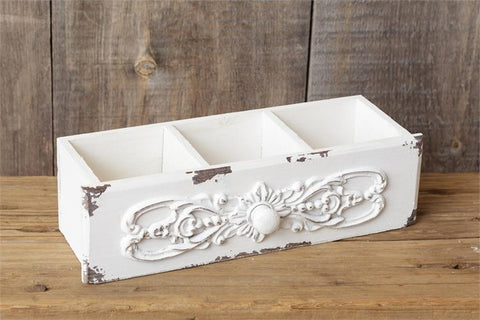 Antique Style White Distressed Triple Bin Drawer Container
