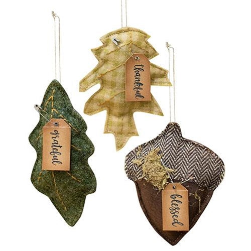 Set of 3 Felt Fall Ornaments - leaves and acorn