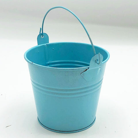 "Light Blue 2.75"" H Mini Tin Bucket"