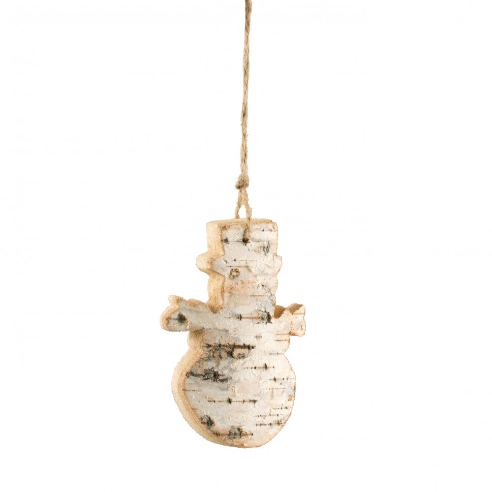 Carved Birch Christmas Snowman Ornament