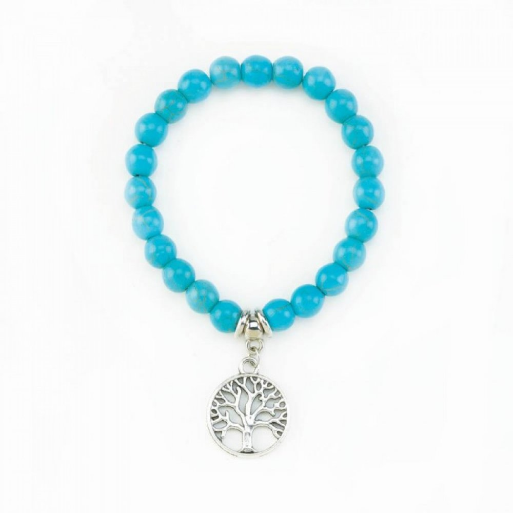 Tree Of Life Turquoise Stretch Bracelet