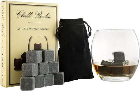 Chill Rocks Set of 9 Whiskey Stones
