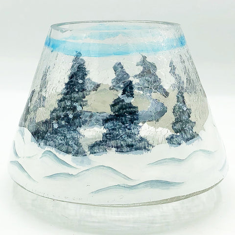 Crackle Jar Candle Glass Shade Winter Trees and Snow