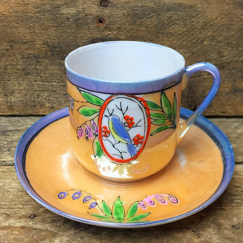 Bird Mini Teacup and Saucer Made in Japan
