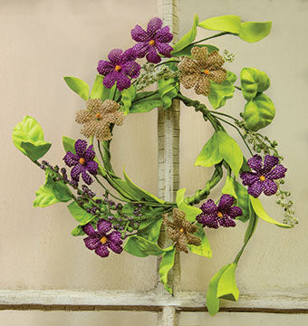 "Burlap Purple Violets and Greens 7"" Small Wreath Ring"