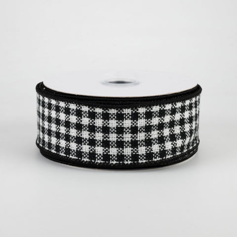 "Mini Black & White Woven Check Ribbon 1.5"" x 10 yards"