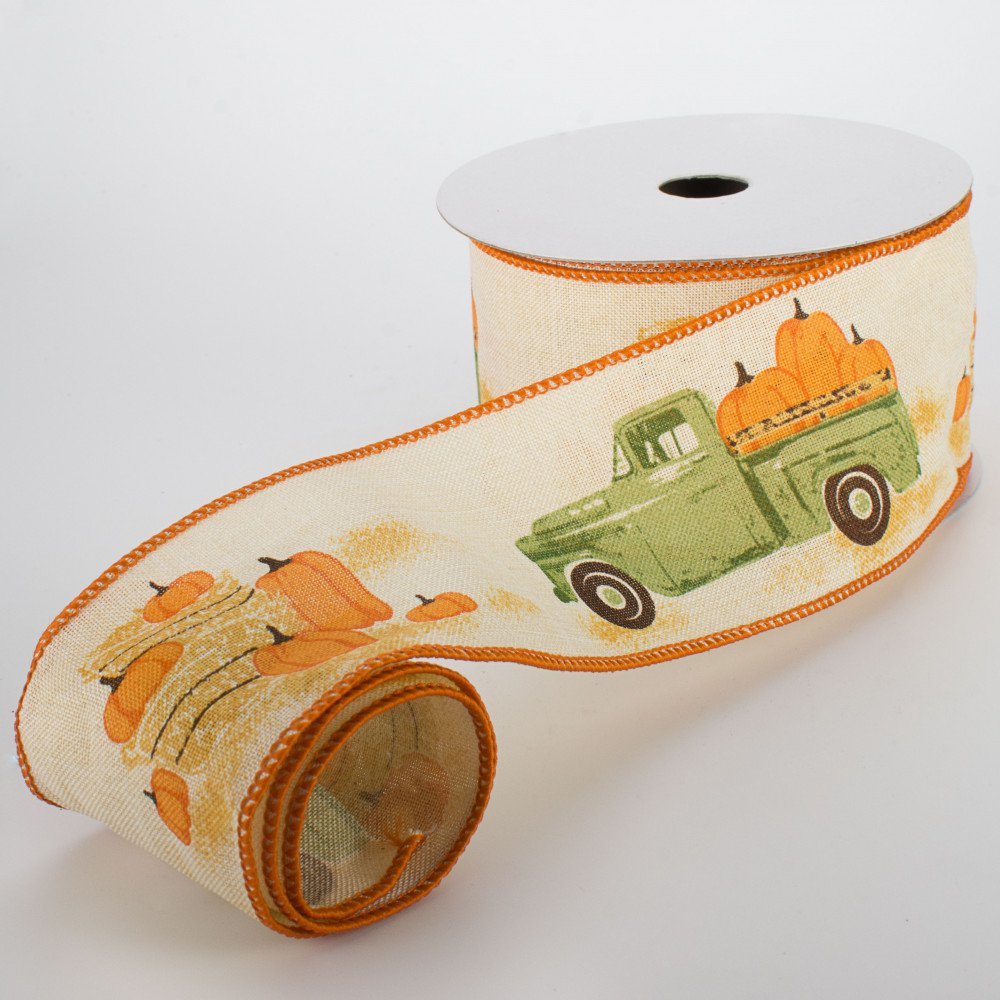 "Vintage Truck With Pumpkins Ribbon - 2.5"" W x 10 yards"