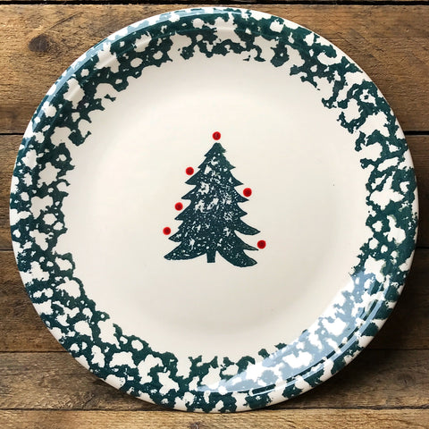 Tienshang Winter Wonderland Spongeware Christmas Tree Plate 10""