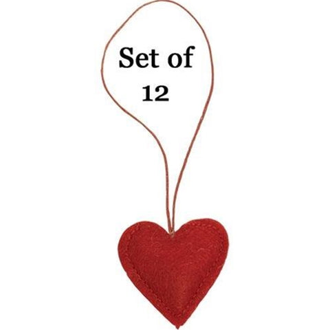 Set of 12 Red Felt Heart Ornaments