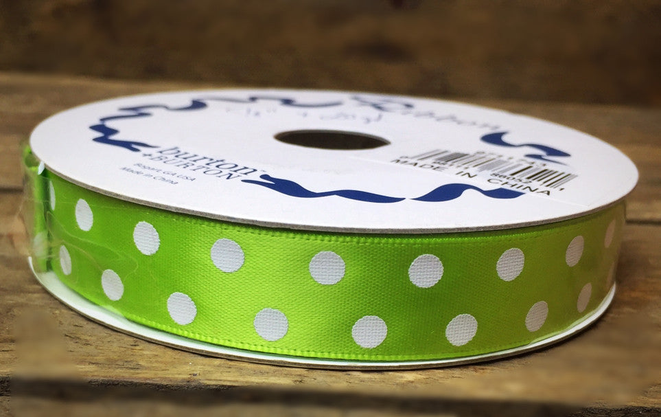 "Lime Green w/ White Polka Dots  #2 Ribbon 5/8"" X 25 yards"