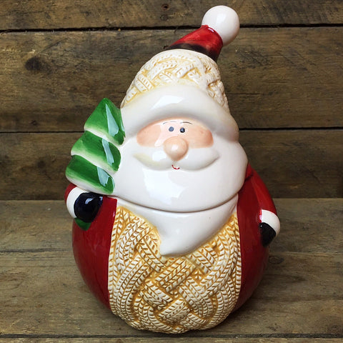 Rustic Santa Ceramic Jar from Ganz