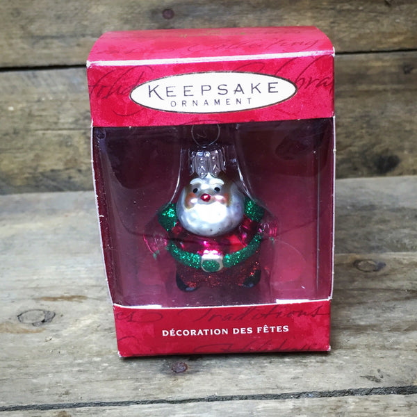 Lil' Roly-Poly Santa Hand Blown Hallmark ornament 2000