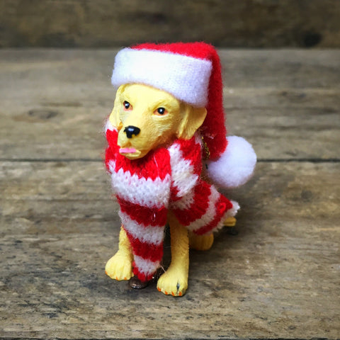 Yellow Labrador Retriever with Santa Hat and Red Scarf Ornament Ganz