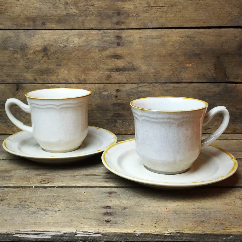 Set of 2 The Classics of Hearthside Ivory Teacups and Saucers stoneware