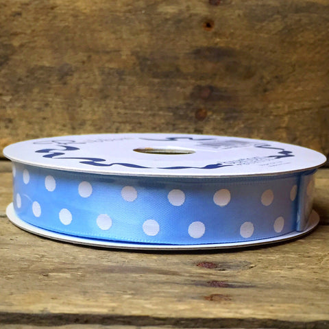 "Light Blue Polka Dot Satin #3 Ribbon 5/8"" X 25 yards"