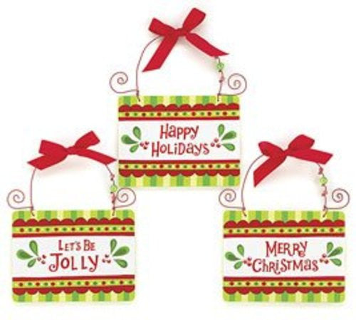 "Set of 3 Christmas Themed Wall Plaques ""Happy Holidays"" ""Let's Be Jolly"""