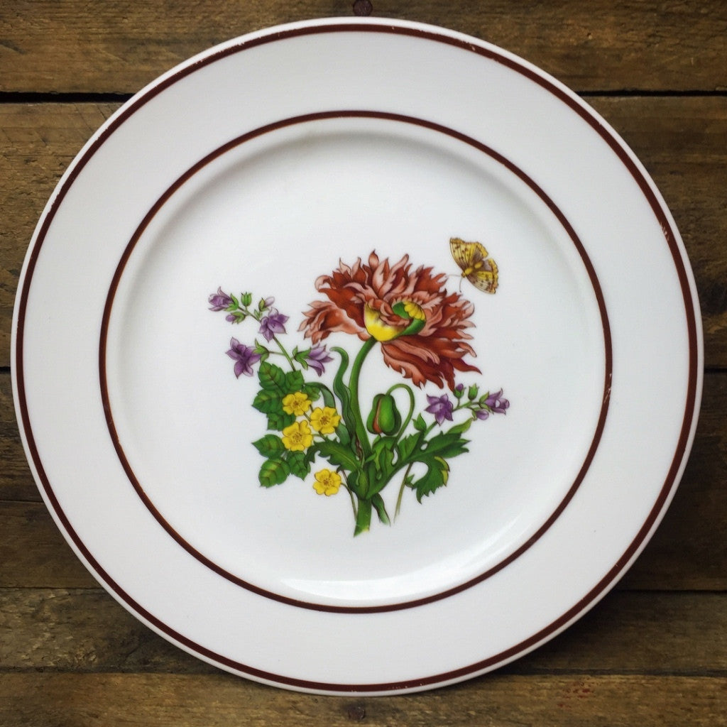 JWK Floral Salad Plate #1 Flowers with Butterfly Bavaria Western Germany