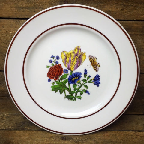 JWK Floral Salad Plate #2 Flowers with Butterfly Bavaria Western Germany