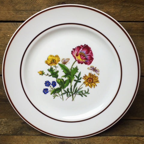 JWK Floral Salad Plate #3 Flowers with Butterfly Bavaria Western Germany