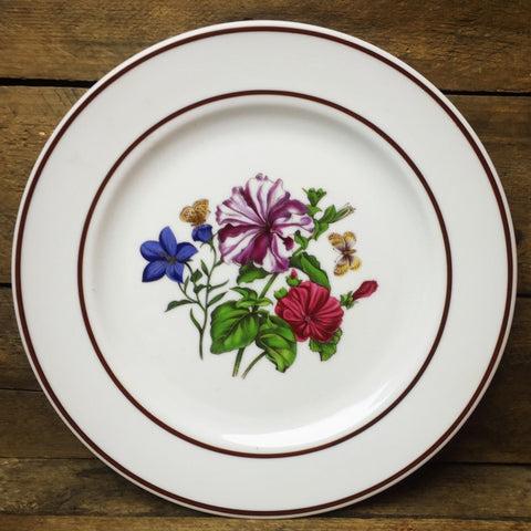 JWK Floral Salad Plate #4 Flowers with Butterflies Bavaria Western Germany
