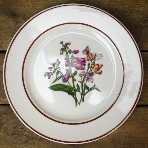 JWK Floral Salad Plate #5 Flowers with Butterfly Bavaria Western Germany