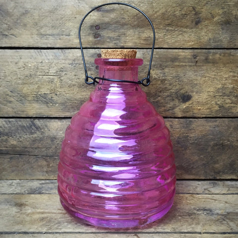 Decorative Pink Wasp Jar Recycled Glass