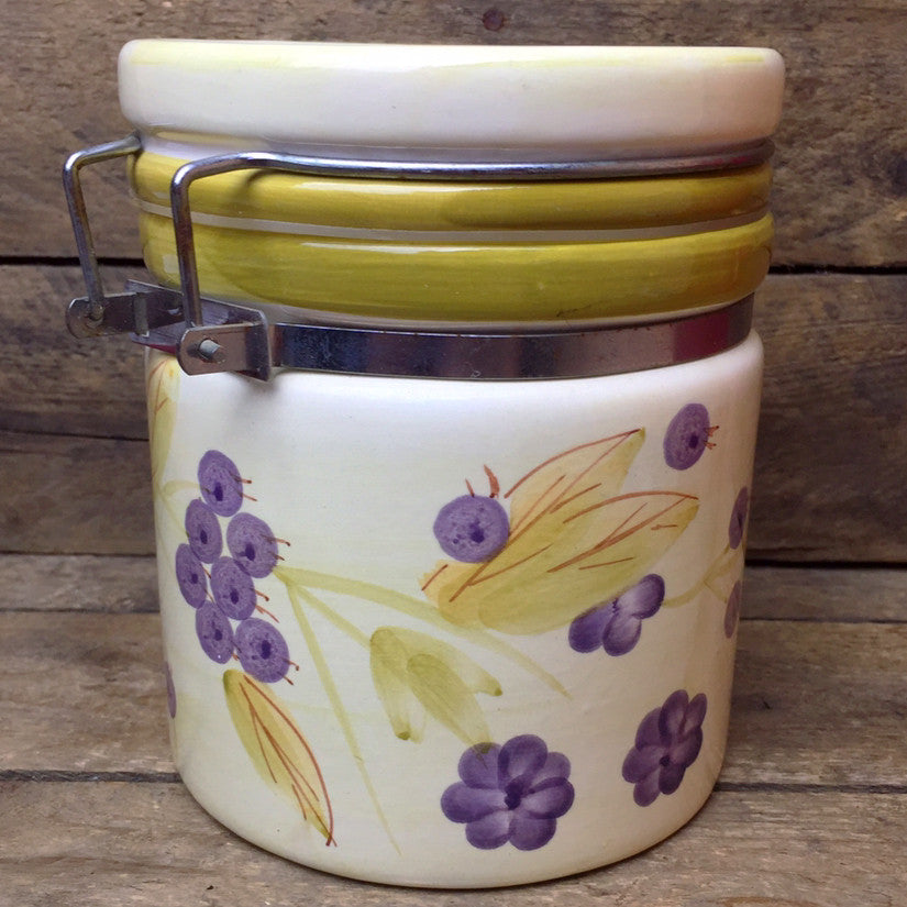 Blueberry and Flowers Ceramic Canister