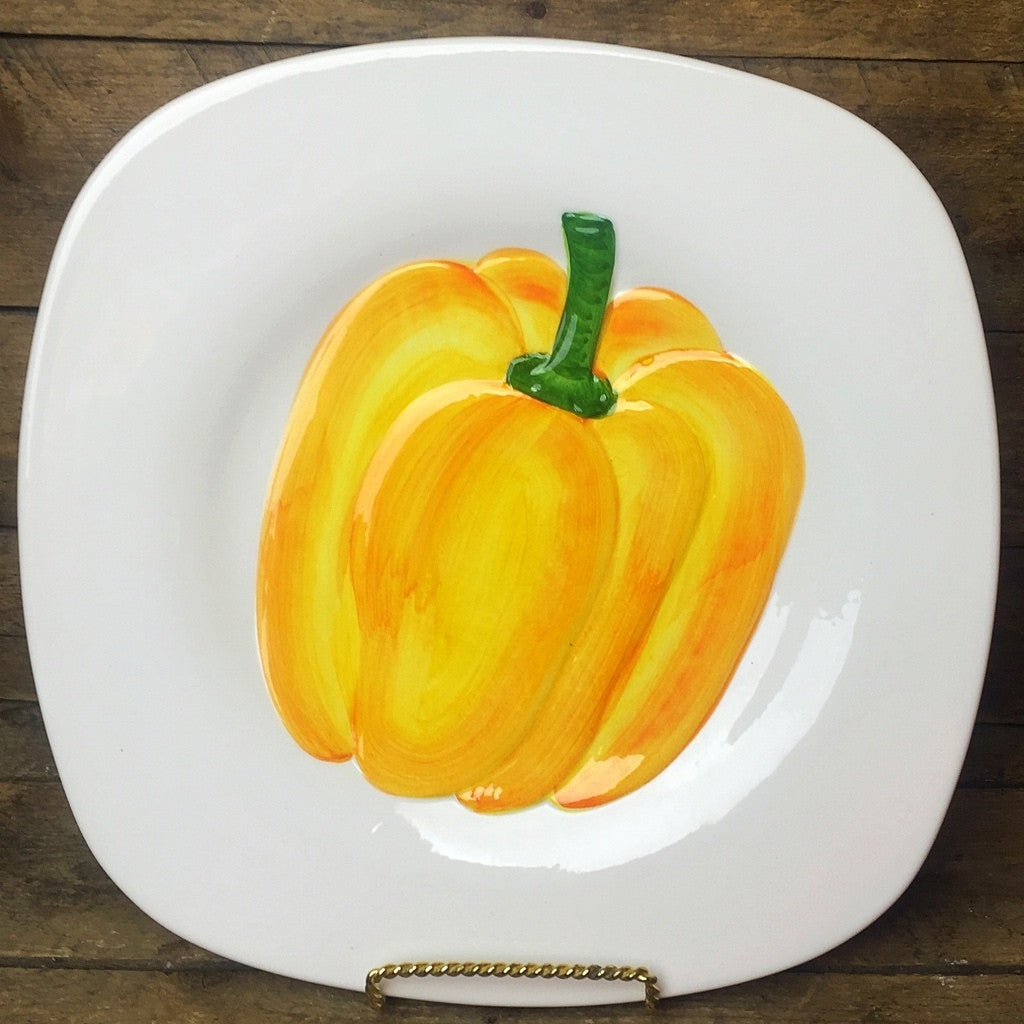 Yellow Pepper Large Square Dinner Plate Made in Italy