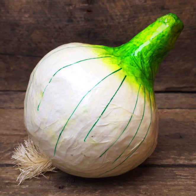 Green and White Onion Mache Decorative Vegetable
