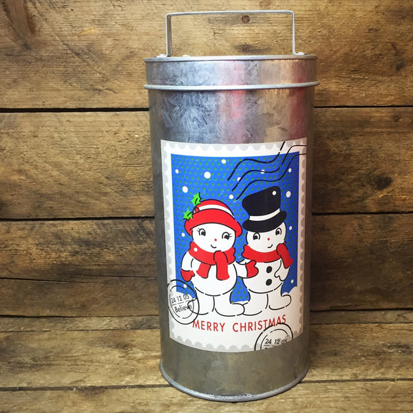 Galvanized Snowmen Couple Stamp Tin Container