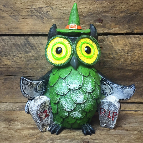 Ganz Witch Owl Figurine with green accents
