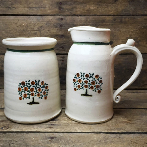 Sly Cat Studio Pottery Sugar & Creamer Fruit Tree Design
