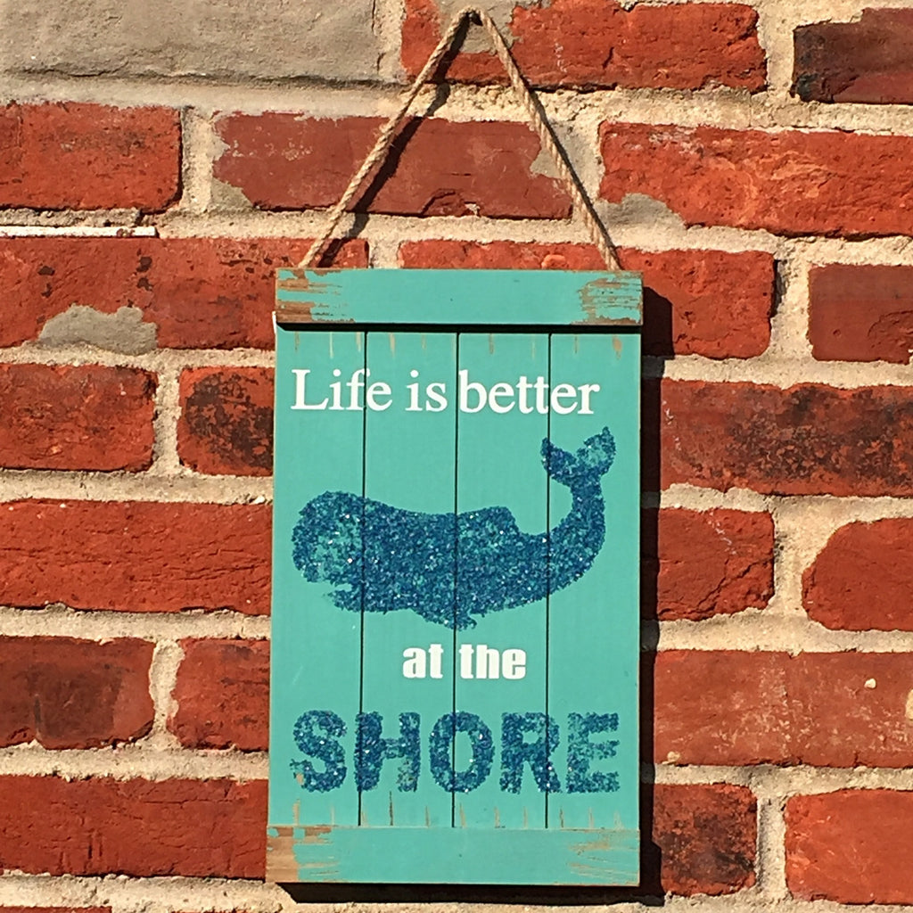 "Whale Sign ""Life is Better at the Shore"" with Jute Rope Hanger"