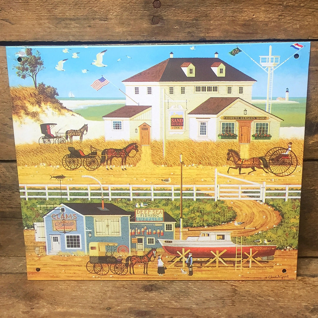 Charles Wysocki American Sand and Sea Decorative Tin Sign