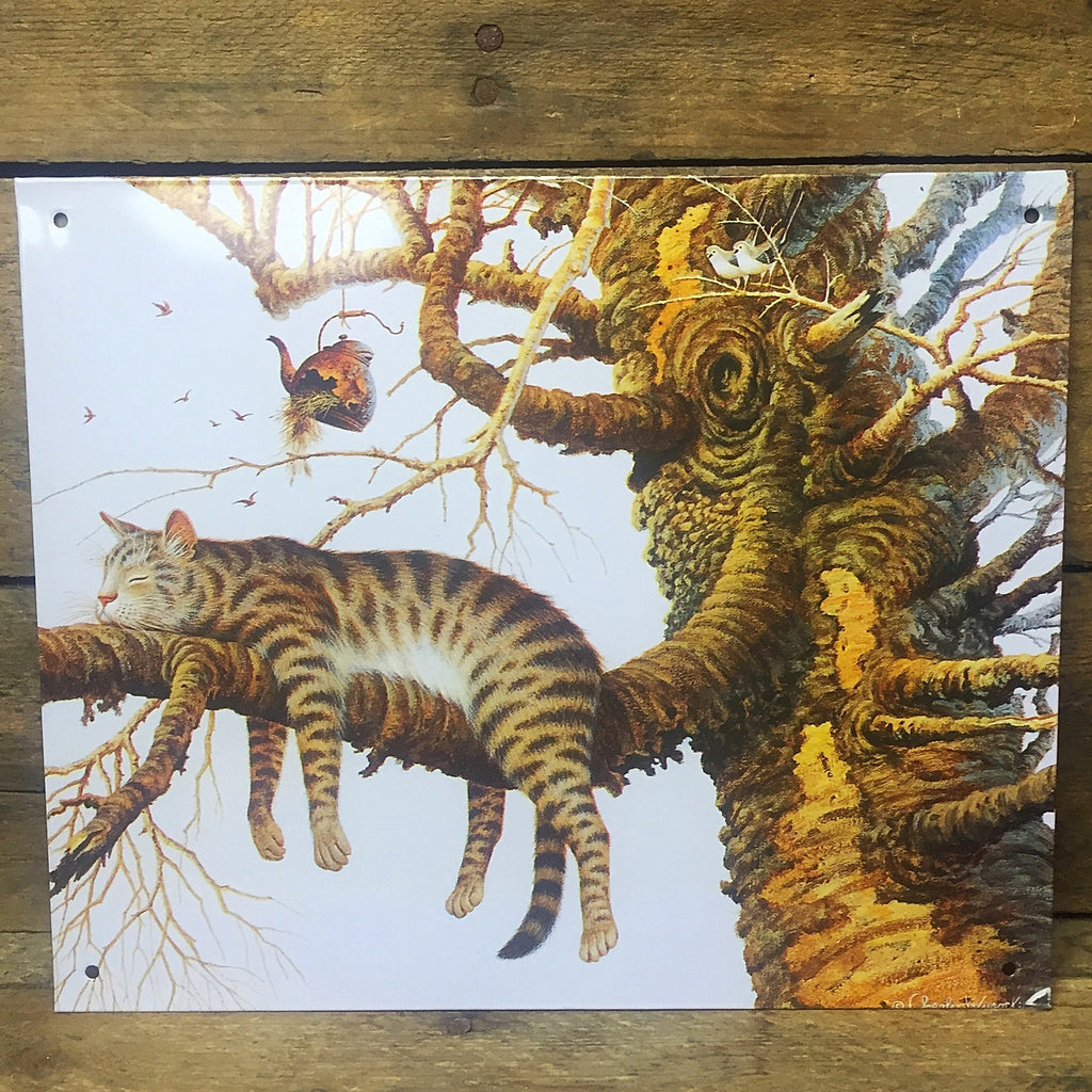 "Charles Wysocki Cat in Tree Tin Sign 6"" x 9"""