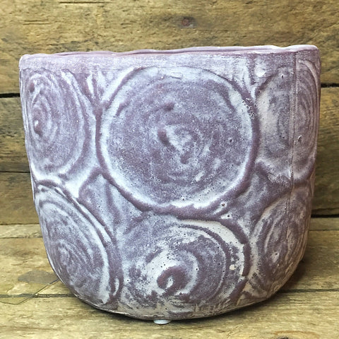 "Natural Swirls Pottery Planter container 4.25"" H"