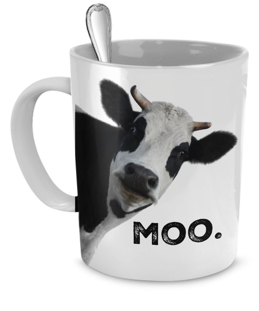 "Cow Face Mug with Profound Message of ""Moo"" 11 oz"