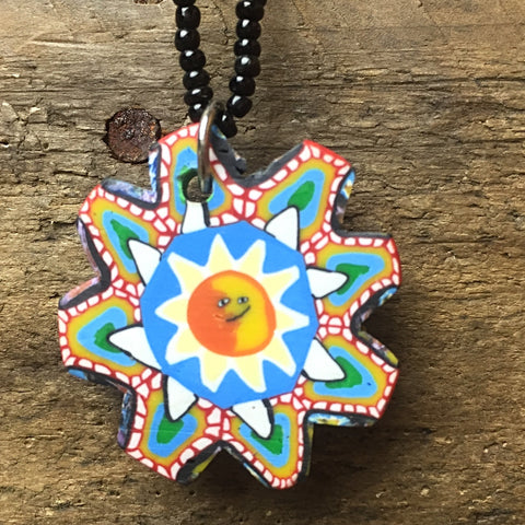 "Sun Mosaic 16"" Necklace colorful with black bead choker"